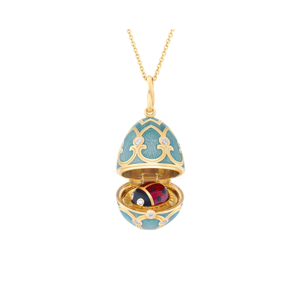 Faberge Egg pendant with enamel TURQUOISE LOCKET WITH LADYBIRD SURPRISE Marshall Pierce Chicago