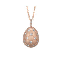Faberge Treillage Diamond Egg Pendant in Rose Gold Marshall Pierce Chicago