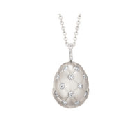 Faberge Treillage Diamond Egg Pendant in White Gold Marshall Pierce Chicago