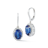 Marshall Pierce Chicago fine Jewelry Oval Sapphire & Diamond Drop Earrings Halo