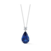 Marshall Pierce & Company Chicago Fine Jewelry 6.02 Carat Pear-Shape Sapphire & Diamond Pendant in white gold