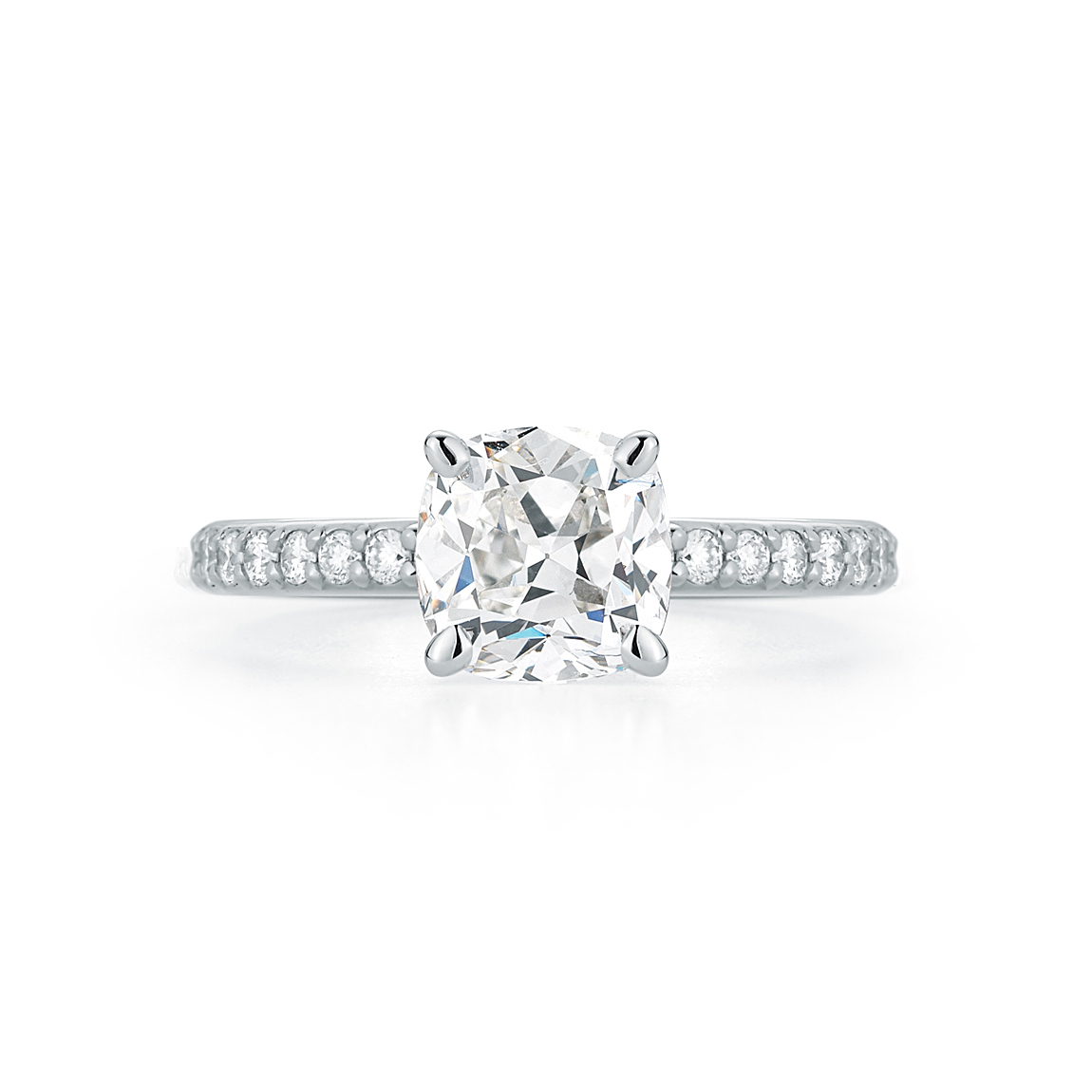 Marshall Pierce Pave Collection Cushion Cut Diamond Platinum Gold Ring Chicago Engagement Rings