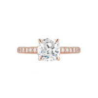 Marshall Pierce Pave Collection Cushion Cut Diamond Rose Gold Ring Chicago Engagement Rings