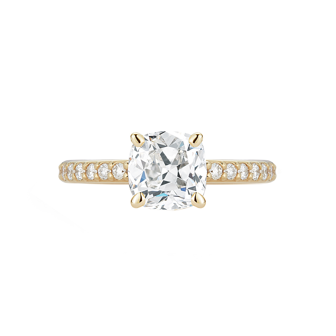 Marshall Pierce Pave Collection Cushion Cut Diamond Yellow Gold Ring Chicago Engagement Rings