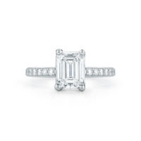 Marshall Pierce Pave Diamond Engagement Ring Emerald Cut Platinum Chicago Fine Jewelry