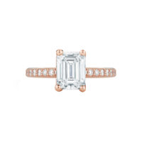 Marshall Pierce Pave Diamond Engagement Ring Emerald Cut rose gold Chicago Fine Jewelry 2
