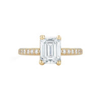 Marshall Pierce Pave Diamond Engagement Ring Emerald Cut yellow gold Chicago Fine Jewelry 2