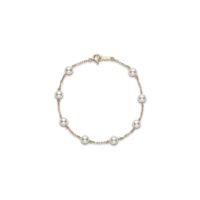 PD129K Mikimoto yellow gold pearl station bracelet chicago marshall pierce
