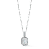 0.70 Carat Emerald-Cut Diamond Halo Pendant in White Gold Marshall Pierce & Company Chicago Fine Jewelry