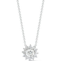 1.00 Carat Round Brilliant-Cut Diamond Halo Pendant in White Gold Marshall Pierce & Company Chicago Fine Jewelry