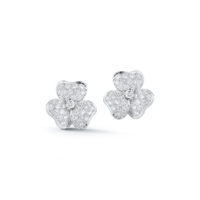 18K White Gold Pave Set Diamond Floral earrings with posts and clips Marshall Pierce & Company Chicago