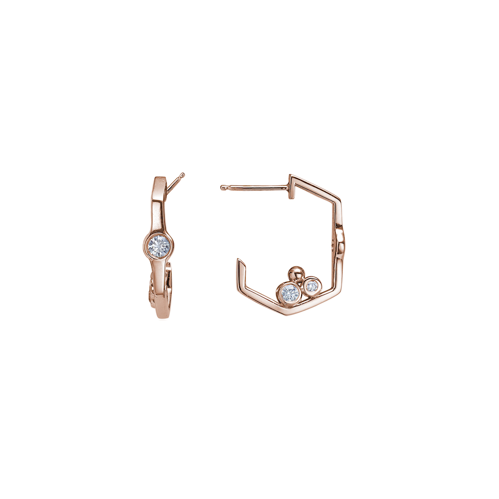 AMT Jewelry Design Chicago Classic Geometric hoops earrings diamonds rose gold petite CCE002R-DIA