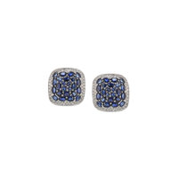 Diamond and sapphire square estate vintage earrings chicago Marshall Pierce & Company RR2716
