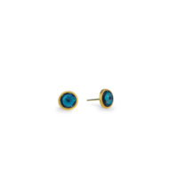 Marco Bicego Jaipur London Blue Topaz Yellow gold stud earrings Marshall Pierce & Company Chicago