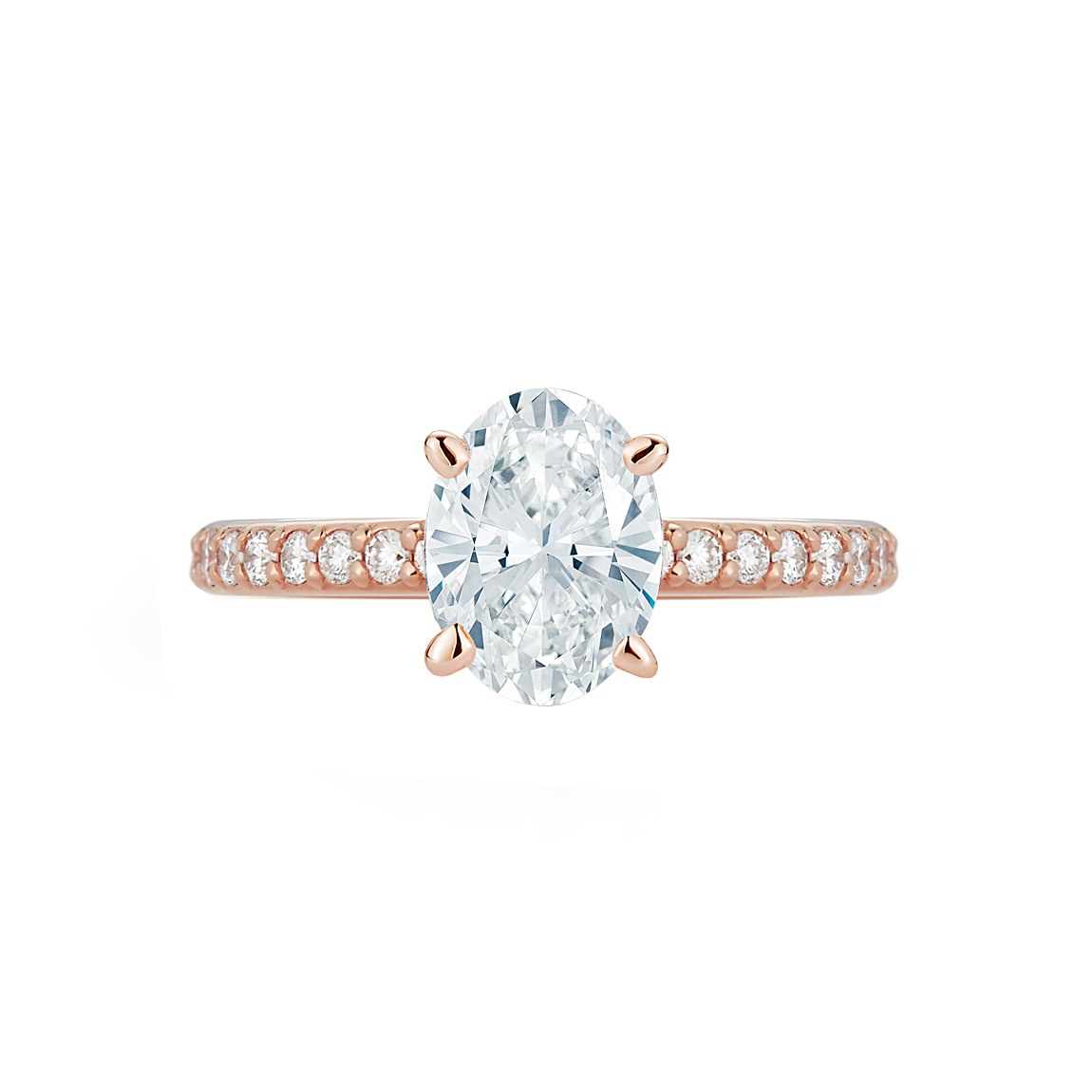Pave Collection Rose Gold Oval Diamond Engagement Ring chicago Marshall Pierce & Company