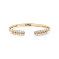 Pearl Ivy Bezel Hinge Cuff YELLOW GOLD STYLE- #B832 Dana Rebecca Jewelry Chicago