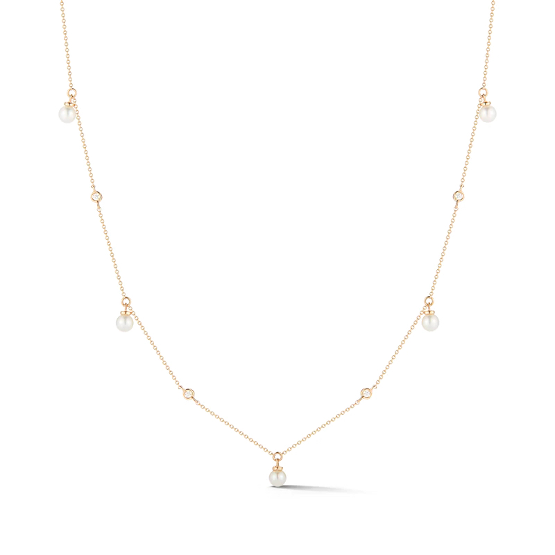 Pearl Ivy Bezel Station Necklace YELLOW GOLD STYLE- #N2475-YELLOW-16 dana rebecca chicago Marshall Pierce & Company